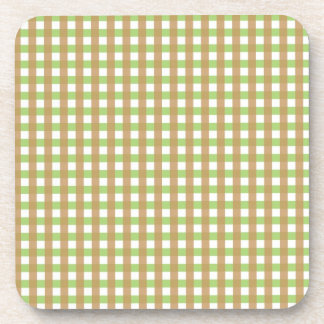 Green & Brown Crosshatched Cork Coasters