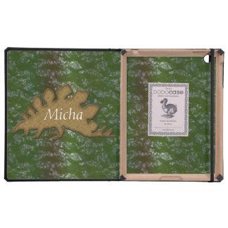 Green & Brown Dinosaur Skin Monogram Cover For iPad