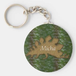 Green & Brown Dinosaur Skin Monogram Basic Round Button Key Ring