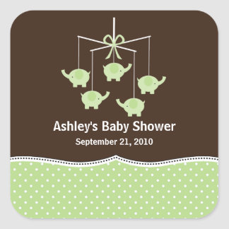 Green & Brown Elephant Mobile Baby Shower Stickers