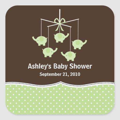 Green Baby Gifts Uk : Green brown elephant mobile baby shower square sticker