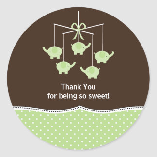 Green & Brown Elephant Mobile Thank You Sticker