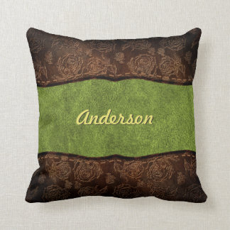 Green+Brown Embossed Rose Custom Faux Leather Cushion