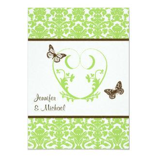 Green, Brown Heart, Butterflies Wedding Invitation