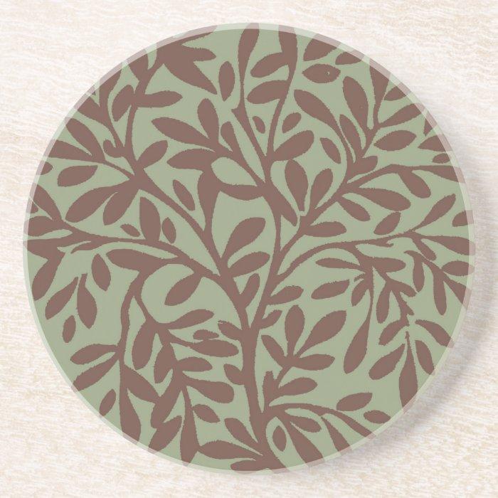 Green & Brown Leafy Stone Coaster