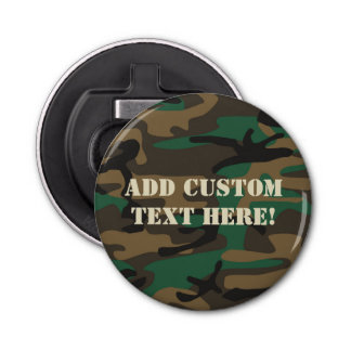 Green Brown Military Camo Camouflage Bottle Opener