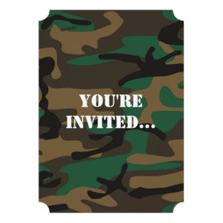 Green Brown Military Camo Camouflage Personalized Announcement