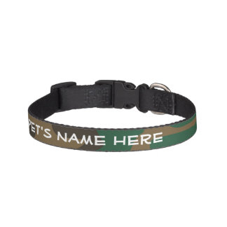 Green Brown Military Camo Camouflage Pet Collar