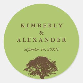 Green brown oak tree wedding favor label seal stickers