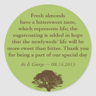 Green brown oak tree wedding quote favor label