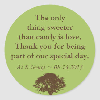 Green brown oak tree wedding quote favor label round sticker