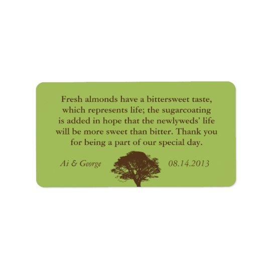 Green brown oak tree wedding quote favour label address label