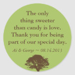 Green brown oak tree wedding quote favour label round sticker