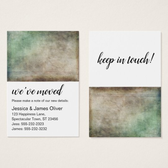 Green Brown Ombre Grunge We've Moved Handout Card