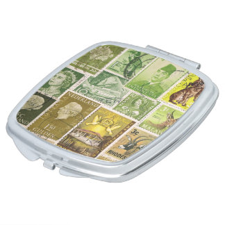 Green Brown Pocket Handbag Mirror, Postage Stamps Mirrors For Makeup