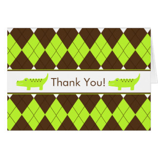 Green & Brown Preppy Alligator Thank You Note Card