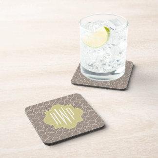 Green + Brown Quatrefoil Monogram Beverage Coasters