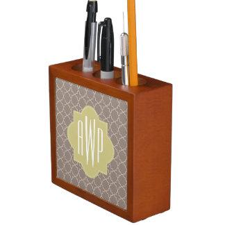 Green + Brown Quatrefoil Monogram Pencil/Pen Holder