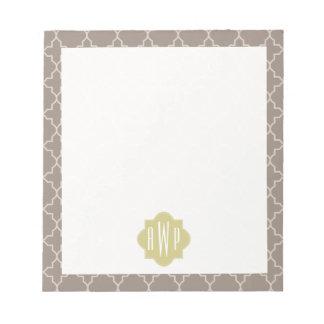 Green + Brown Quatrefoil Monogram Note Pads