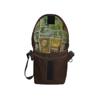 Green Brown Small Travel Bag, Vintage Stamp Art Commuter Bags