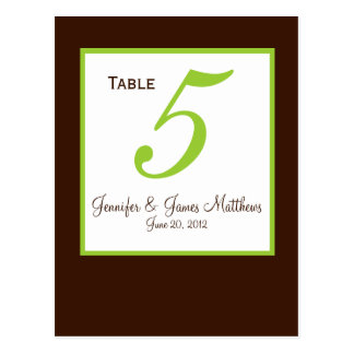 Green Brown Wedding Table Number Card Postcard