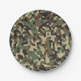 Green Brown Woodland Camouflage. Camo your 7 Inch Paper Plate