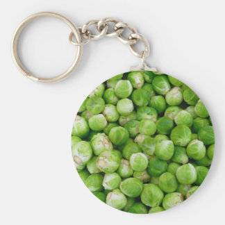 Green brussels sprouts basic round button key ring