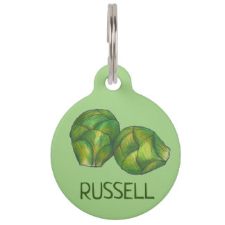 Green Brussels Sprouts Vegetarian Vegetable Foodie Pet Tag