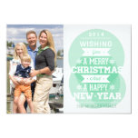 Green bubble typography Christmas holiday photo Custom Announcements