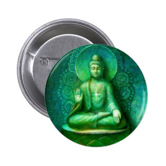Green Buddha 6 Cm Round Badge