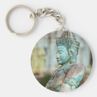 Green Buddha statue Cambodia Basic Round Button Key Ring