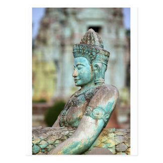 Green Buddha statue Cambodia Postcard
