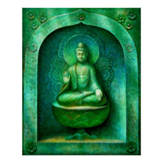 Green Buddha  Zen Buddhist Meditation Art Poster