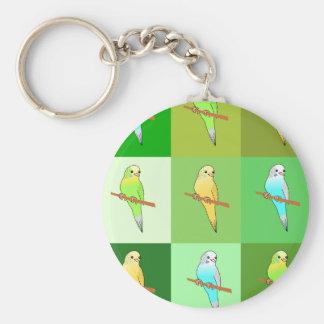 Green Budgies Tiles Design Basic Round Button Key Ring