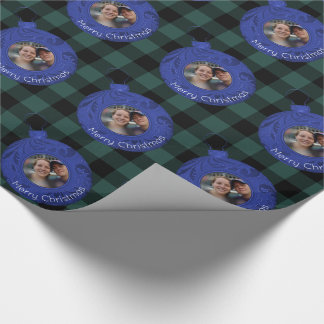 Green Buffalo Plaid Blue Merry Christmas Photo Wrapping Paper