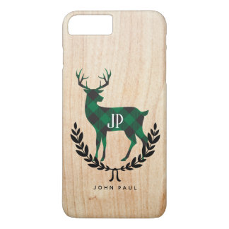 Green Buffalo Plaid Monogram Stag iPhone 8 Plus/7 Plus Case