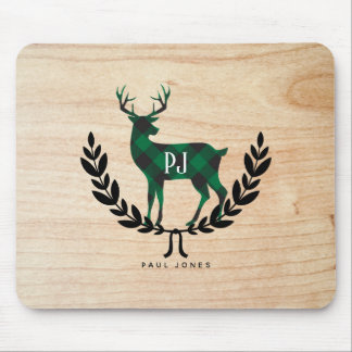 Green Buffalo Plaid Monogram Stag Mouse Mat