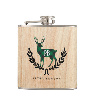 Green Buffalo Plaid Stag Monogram Hip Flask