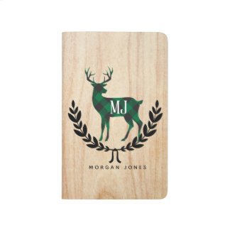 Green Buffalo Plaid Stag Monogram Journal
