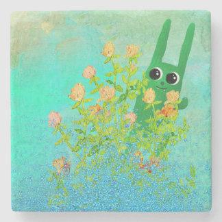 green bunny marble coaster