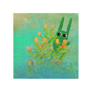 green bunny wood print