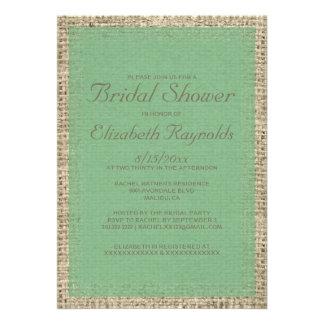Green Burlap Bridal Shower Invitations Invites