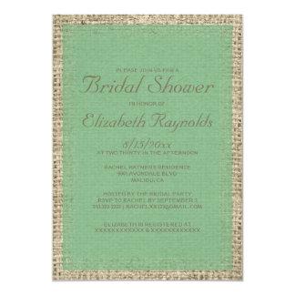 "Green Burlap Bridal Shower Invitations 5"" X 7"" Invitation Card"