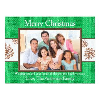 Green Burlap Pinecones Photo - 6x8 Christmas Card