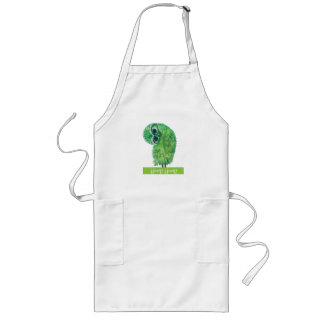 Green Burrowing Owl Coastal Art Long Apron