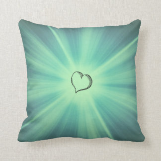 Green Burst Heart Throw Pillow Throw Cushion