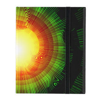Green Burst Spiral Psychedelic iPad Cover