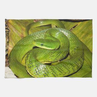 Green Bush Rat Snake Tea Towel