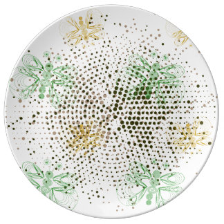 Green butterflies pattern with retro halftones porcelain plates