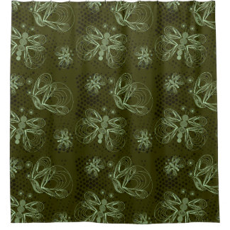 Green butterflies pattern with retro halftones shower curtain